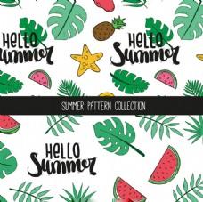 夏天水果棕榈叶图案
