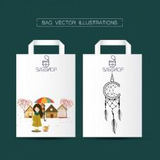 扁平化手绘图案购物袋