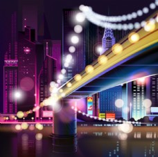 大城市夜景景观矢量