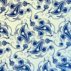 蓝色手绘花纹墙纸背景