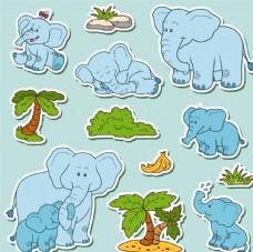 卡通大象动物矢量