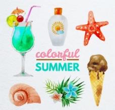 6款水彩绘夏季元素矢量素材