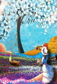 美女油画风景装饰画无框画玄关壁画