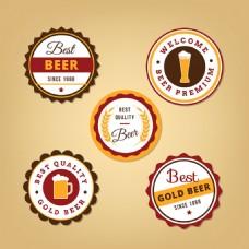 五个圆形啤酒标签图标