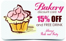 粉色卡通蛋糕折扣卡片矢量素材