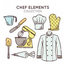 精美的手绘厨师元素矢量素材