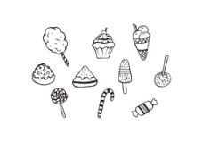 手绘线性甜品美食图标