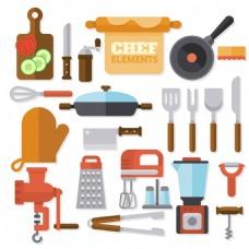 各种扁平风格厨具矢量素材
