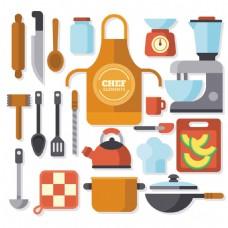 彩色各种厨房用品厨具矢量素材
