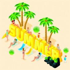 夏日立体字与美女图片
