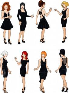 黑色裙子美女插画图片