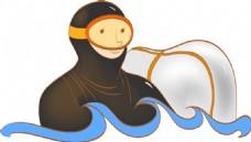 卡通潜水员素材设计