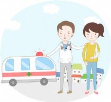 卡通救护车素材