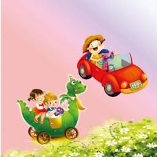花朵绿草卡通孩童车恐龙车素材