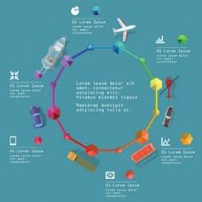 旅行交通工具矢量图