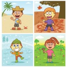 一年四季卡通風格小孩風景背景