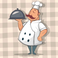 手绘风格厨师捧托盘背景