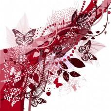 复古蝴蝶红色背景图