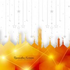 闪亮伊斯兰装饰图案开斋节设计背景
