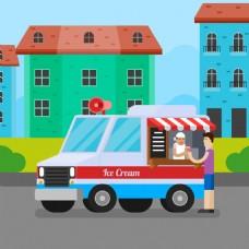 彩色冰淇淋车城市建筑背景