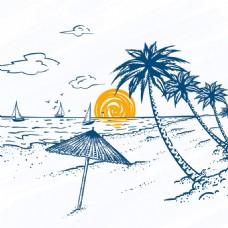 手绘素描风格椰树帆船海滩景观背景