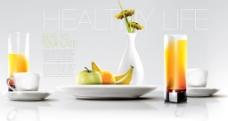 水果早餐饮料背景素材