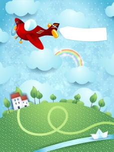 卡通大自然可爱房屋彩虹飞机风景矢量素材