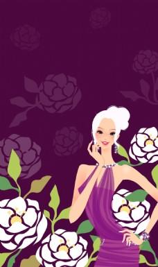 手绘花朵美女背景