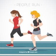 两个在跑道上跑的女人