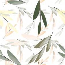 手绘叶子花卉元素无缝底纹背景
