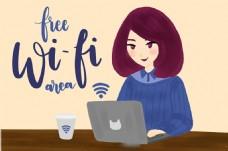 漂亮的女人与笔记本电无线wifi元素背景