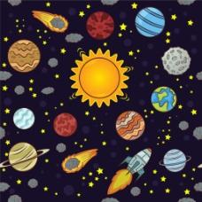 手繪各種太空星球火箭裝飾圖案背景