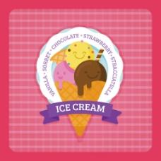 冰淇淋圆形贴纸红色背景