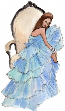蓝色露背礼服设计图