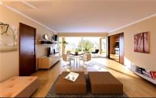 宽敞阳光3D客厅模型设计