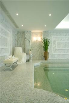简约室内游泳池背景墙设计图