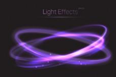 紫色发光旋转光效背景矢量