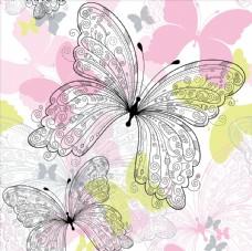 蝴蝶彩绘线描图
