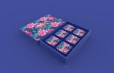 月饼盒-荷塘月色蓝