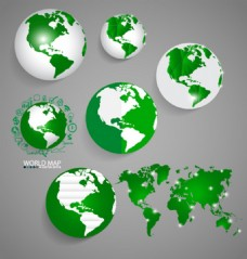 地球与世界地图矢量设计