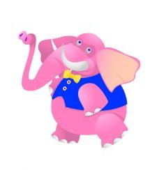 卡通粉红大象EPS