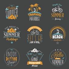 夏日暑假旅游标签矢量图