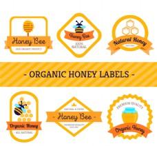 6款创意有机蜂蜜标签矢量素材