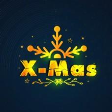 金色发光圣诞节精美卡通矢量海报素材文件