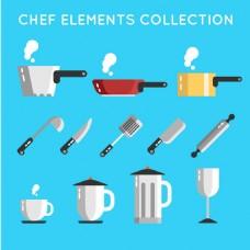 手绘各种餐具厨具图标