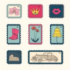 漂亮老式邮票图标