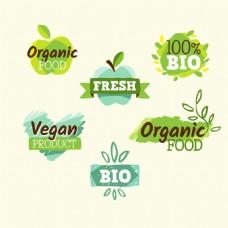 手绘环保绿色健康贴纸标签