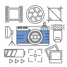 线性风格相机摄影元素插图图标