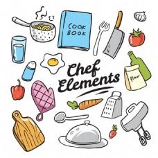手绘风格厨师烹饪元素矢量素材