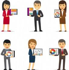 卡通可爱商务职业办公室白领男女人物表情图片